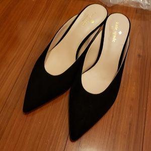 NEW Kate Spade black suede slide w kitten heel